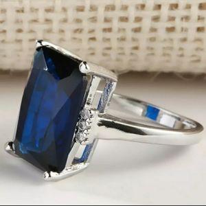 ❤3/$15 Emerald Cut Silver 925 Plated Gemstone Ring
